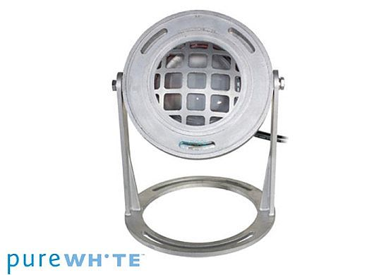 J&J Electronics PureWhite LED Underwater Fountain Luminaire | Base And Guard | 120V 10' Cord | LFF-S1L-120-WG-WB-10