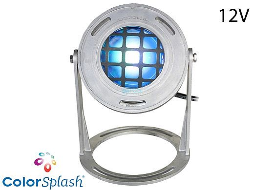 J&J Electronics ColorSplash LED Underwater Fountain Luminaire | Base and Guard | 12V 30' Cord | LFF-S1C-12-WG-WB-30