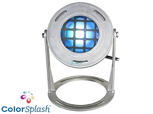 J&J Electronics ColorSplash LED Underwater Fountain Luminaire   Base and Guard   120V 50' Cord   LFF-S1C-120-WG-WB-50