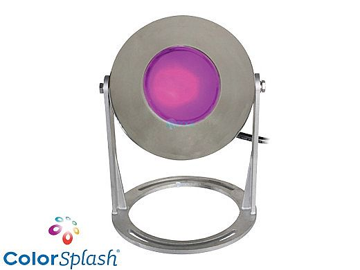 J&J Electronics ColorSplash LED Underwater Fountain Luminaire   Base Only No Guard   120V 50' Cord   LFF-S1C-120-NG-WB-50