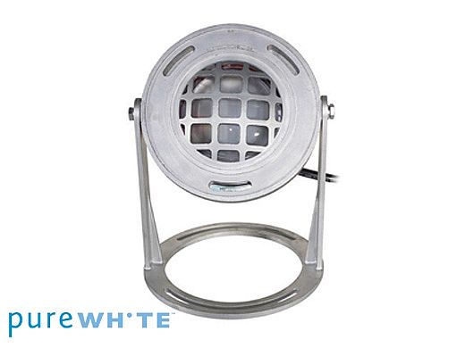 J&J Electronics PureWhite LED Underwater Fountain Luminaire   Base And Guard   120V 50' Cord   LFF-S1L-120-WG-WB-50
