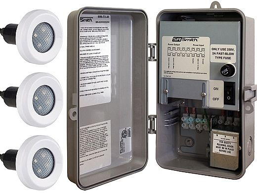 SR Smith TX-30 Power Center with Manual On-Off Switch | Includes 3 Treo LED Pool Lights | 3TR-SRS-TX-30