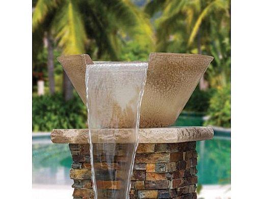 Aquacal Fire Fx Illuminated Spillover Water Bowl Bronze