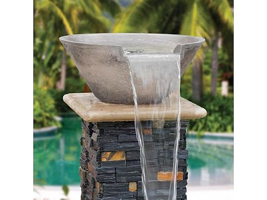 Aquacal Fire Fx Illuminated Spillover Water Bowl Silver