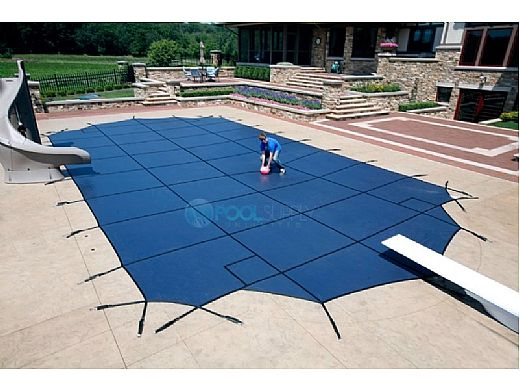 Arctic Armor 20-Year Super Mesh Left End Step Safety Cover   Rectangle 12' x 20' Blue   WS7023B