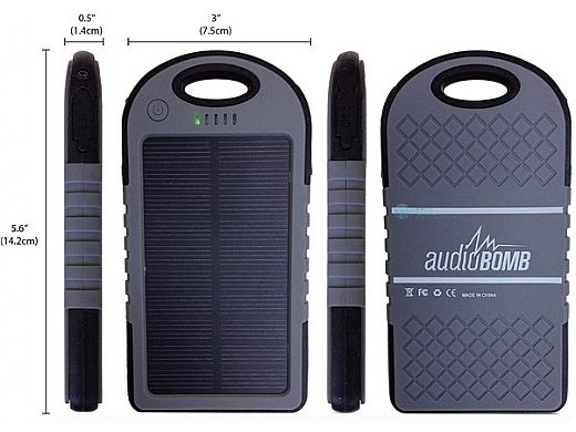 AudioBomb Solar Reflex Solar Powered Portable Charger   Red   12206