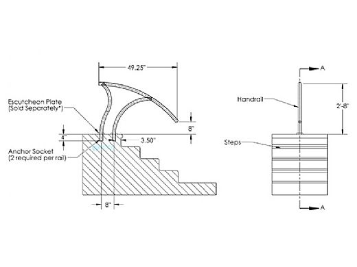 "Inter-Fab Designer Series Deck to Deck Return Stair Rail | 1.90"" x .065"" Thickness 304 Stainless Steel 