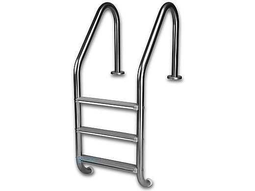 "Inter-Fab Deck Top Mounted 3 Step Ladder Flanged With White High Impact Plastic Treads | 1.90"" x .049"" Thickness 304 Stainless Steel 