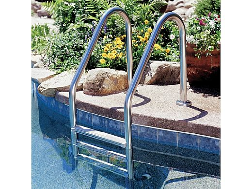 """Inter-Fab Deck Top Mounted 3 Step Ladder Flanged With Sure-Step Treads   1.90"""" x .049"""" Thickness 304 Stainless Steel   L3049S-FL"""