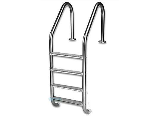 "Inter-Fab Deck Top Mounted 4 Step Ladder Flanged With White High Impact Plastic Treads | 1.90"" x .049"" Thickness 304 Stainless Steel 