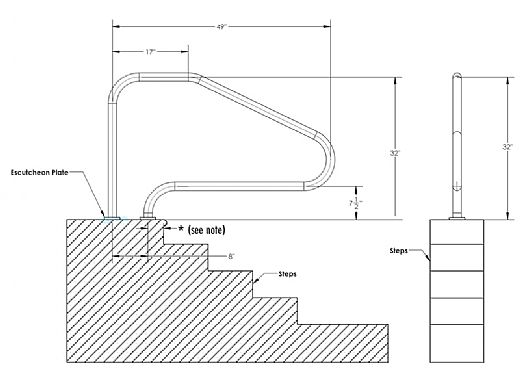 """Inter-Fab Deck Top Mounted D4D 4 Bend Flanged Stair Rail   1.90"""" x .049"""" Thickness 304 Stainless Steel   D4D049-FL"""
