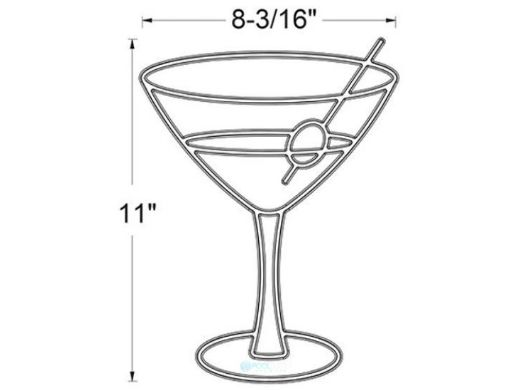 AquaStar Swim Designs Martini Glass Pre-Filled Frame | F2025-01