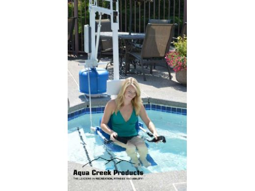 Aqua Creek Scout 2 Pool Lift   No Anchor   White Powder Coat with Blue Seat   F-802SC2