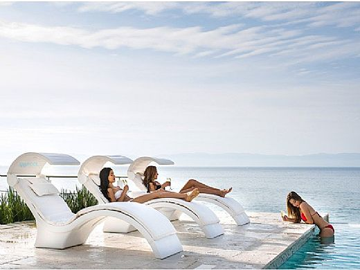 Ledge Lounger Signature Collection Chaise Shade | White Frame - White Fabric Stock Color | LL-SG-C-SH-W-STD-4634