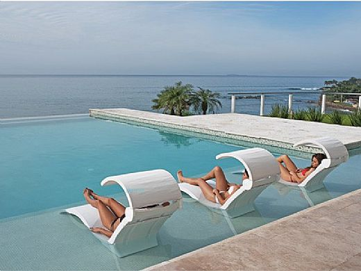 Ledge Lounger Signature Collection Chaise Shade | Cloud Frame - Pacific Blue Fabric Stock Color | LL-SG-C-SH-CD-STD-4601