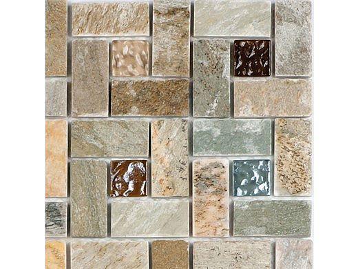 National Pool Tile Fusion Mosaic Quartz with Glass Tile | Pinwheel | FS-PINWHEEL