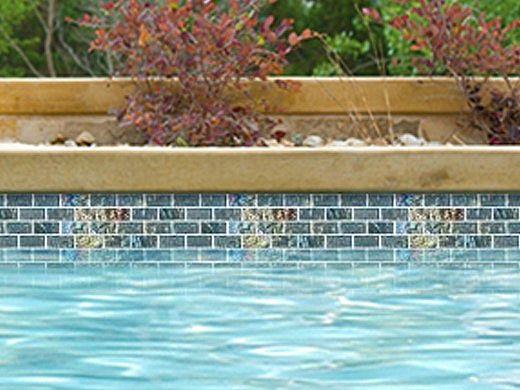 National Pool Tile Lightwaves Glass Tile | Sea Green 1x2 | LWV-SEA GREEN1x2
