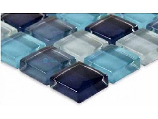 "Artistry In Mosaics Crystal Series - Aqua Blend Glass Tile   1"" x 1""   GC82323T2"