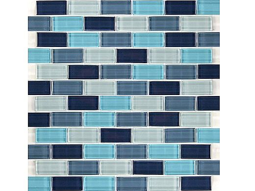 "Artistry In Mosaics Crystal Series - Aqua Blend Glass Tile | 1"" x 2"" | GC82348T2"