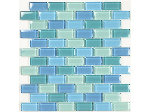 """Artistry In Mosaics Crystal Series - Turquoise Blue Blend Glass Tile 