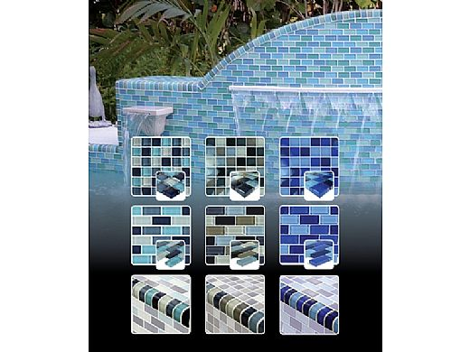 """Artistry In Mosaics Crystal Series - Turquoise Cobalt Blue Blend Glass Tile 