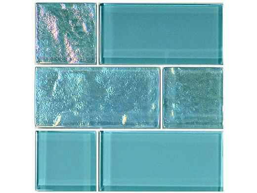 Artistry In Mosaics Twilight Series Glass Tile   Turquoise Mixed   GT8M4896T4