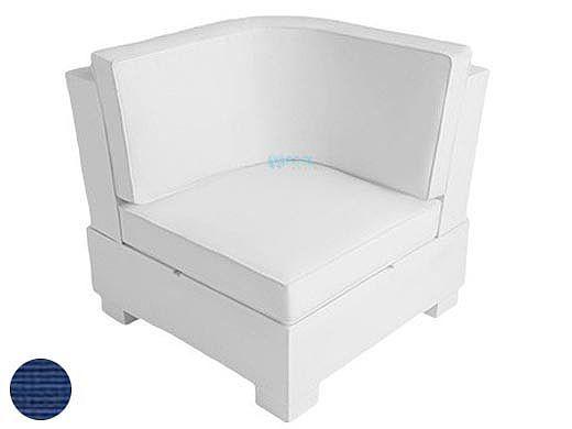 Ledge Lounger Signature Collection Sectional | Corner Piece White Base | Mediterranean Blue Standard Fabric Cushion | LL-SG-S-C-SET-W-STD-4652