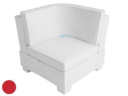 Ledge Lounger Signature Collection Sectional | Corner Piece White Base | Jockey Red Premium 1 Fabric Cushion | LL-SG-S-C-SET-W-P1-4603