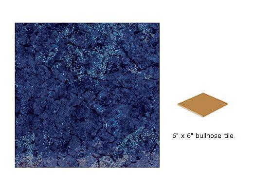 National Pool Tile Bermuda 6x6 Single Bullnose   Bermuda Blue   BERMUDA BLG SBN