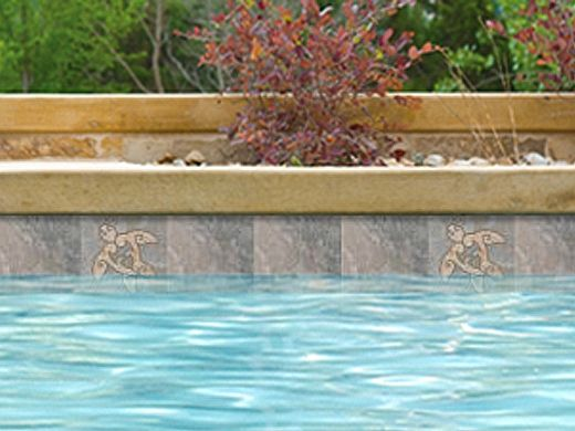 National Pool Tile Sierra 6x6 Turtle Deco | Blue Slate | CLD-BSL-TR1