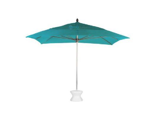 "Ledge Lounger Select Umbrella | 6' Square 2"" White Pole | Standard Fabric Taupe | LL-U-S-6SQPP-W-STD-4648"