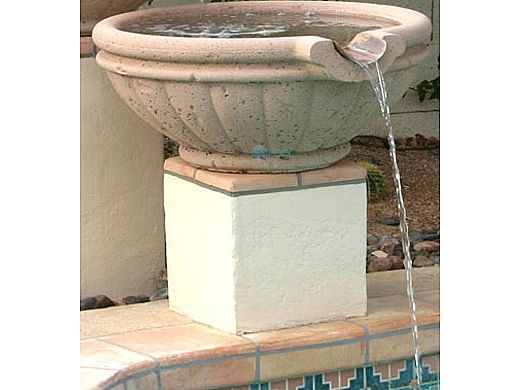 """Water Scuppers and Bowls Parisian Scupper Bowl with Copper Scupper   36"""" Tan Sandblasted   WSBPAR36"""