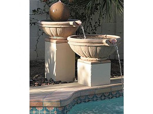"Water Scuppers and Bowls Parisian Scupper Bowl with Copper Scupper | 36"" Charcoal Sandblasted 