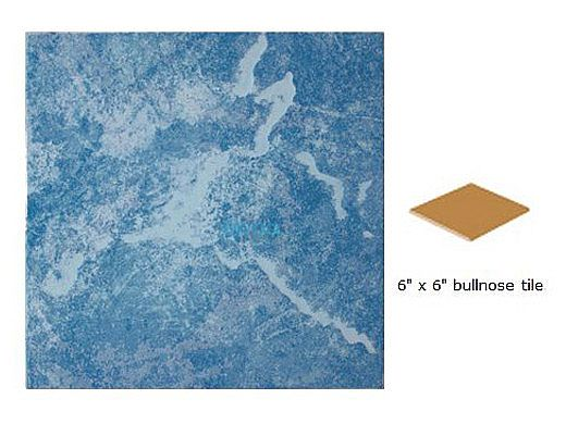 National Pool Tile Blue Seas 6x6 Single Bullnose Pool Tile | Light Blue | SEA-LIGHT SBN