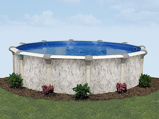 """Sierra Nevada 33' Round Above Ground Pool   Ultimate Package 52"""" Wall   163367"""