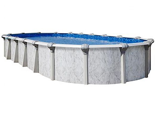 """Sierra Nevada 18' x 33' Oval Above Ground Pool   Ultimate Package 52"""" Wall   163375"""