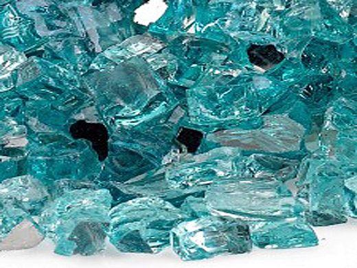 American Fireglass Half Inch Premium Collection | Azuria Reflective Fire Glass | 25 Pounds | AFF-AZBLRF12-25