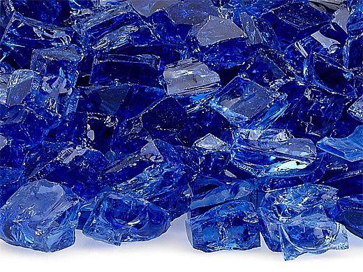 American Fireglass Half Inch Premium Collection   Cobalt Reflective Fire Glass   55 Pounds   AFF-COBLRF12-55
