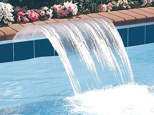 "Jandy Pro Series Sheer Arc™ Cascade Waterfall 6"" Lip | 2' Wide | Clear Lip Backfeed | 1202CSA"