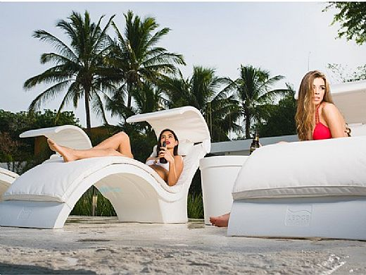 Ledge Lounger Signature Collection Chaise Cushion with Pillow | Standard Fabric Oyster | LL-SG-C-CP-STD-4642