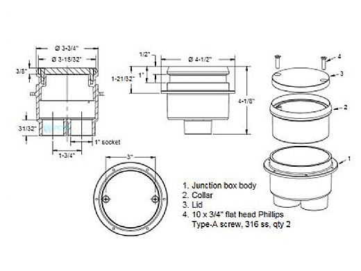 AquaStar Junction Box with Round Lid   Dark Gray   JBR105