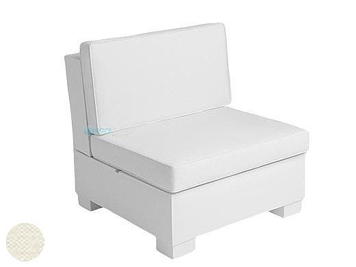 Ledge Lounger Signature Collection Sectional | Middle Piece White Base | Oyster Standard Fabric Cushion | LL-SG-S-M-SET-W-STD-4642
