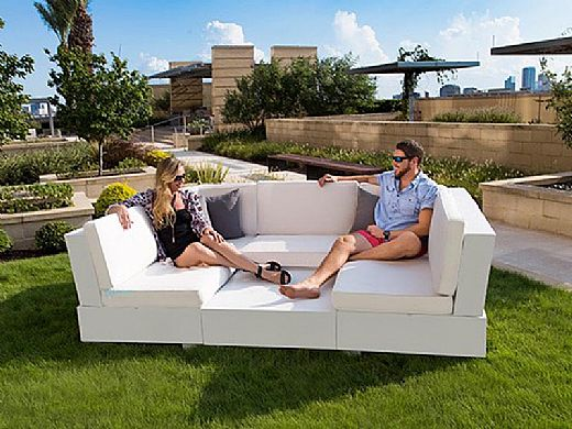 Ledge Lounger Signature Collection Sectional | Corner Piece White Base | Taupe Standard Fabric Cushion | LL-SG-S-C-SET-W-STD-4648
