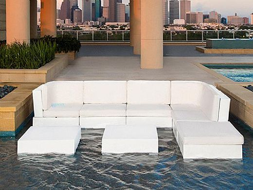 Ledge Lounger Signature Collection Sectional | Ottoman Piece White Base | Mediterranean Blue Standard Fabric Cushion | LL-SG-S-O-SET-W-STD-4652