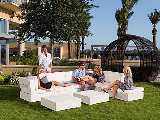 Ledge Lounger Signature Collection Sectional | Ottoman Piece White Base | Jockey Red Premium 1 Fabric Cushion | LL-SG-S-O-SET-W-P1-4603