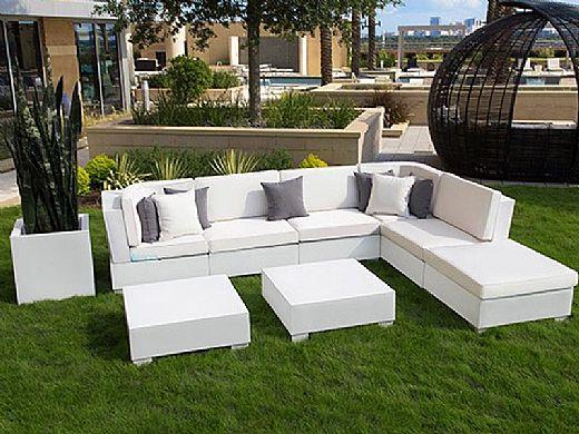 Ledge Lounger Signature Collection Sectional | 8 Piece L-Shape White Base | Oyster Standard Fabric Cushion | LL-SG-S-8PLS-SET-W-STD-4642