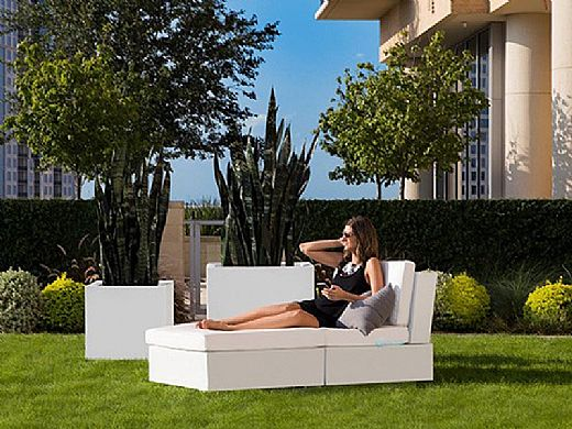 Ledge Lounger Signature Collection Sectional | 2 Piece Sun Chair White Base | Oyster Standard Fabric Cushion | LL-SG-S-2PSC-SET-W-STD-4642