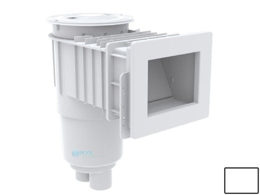 "AquaStar Flow Star Standard Skimmer with Narrow 9"" Deep Throat, Float Assembly, Basket, Lid and Adjustable Collar for Fiberglass   White   SKRFFL3N101"