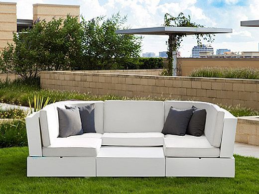 Ledge Lounger Signature Collection Sectional | 6 Piece U-Shape White Base | Oyster Standard Fabric Cushion | LL-SG-S-6PUS-SET-W-STD-4642