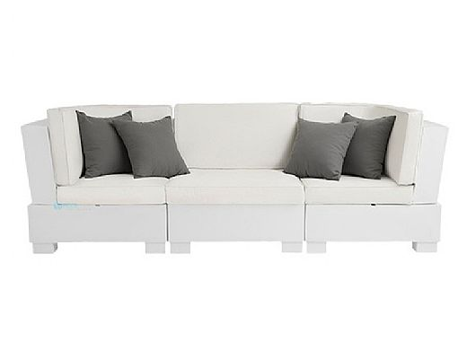 Ledge Lounger Signature Collection Sectional   5 Piece Sofa & Chairs White Base   Mediterranean Blue Standard Fabric Cushion   LL-SG-S-5PSC-SET-W-STD-4652